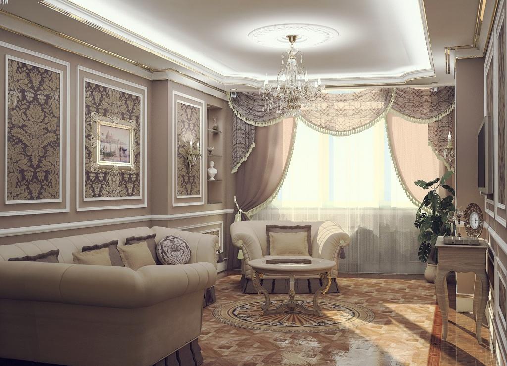 Вариант оформления классической гостиной в кофейных тонах