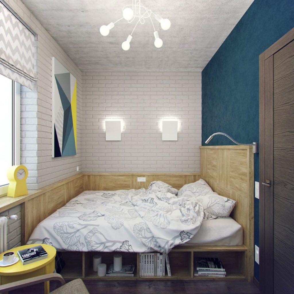 Кровать-подиум в интерьере с элементами лофт