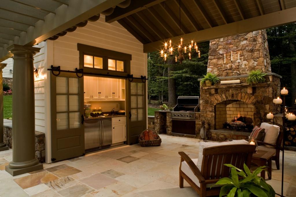 Летняя кухня с камином фото своими руками 9