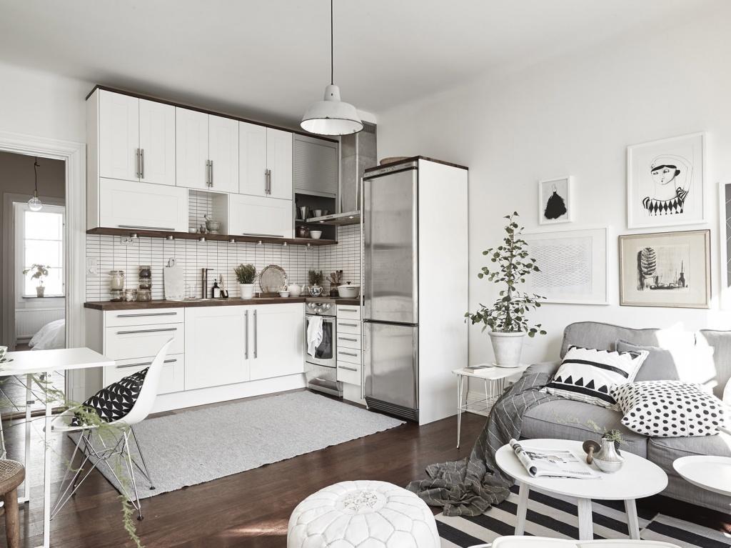 Совмещение с кухней зрительно расширяет пространство