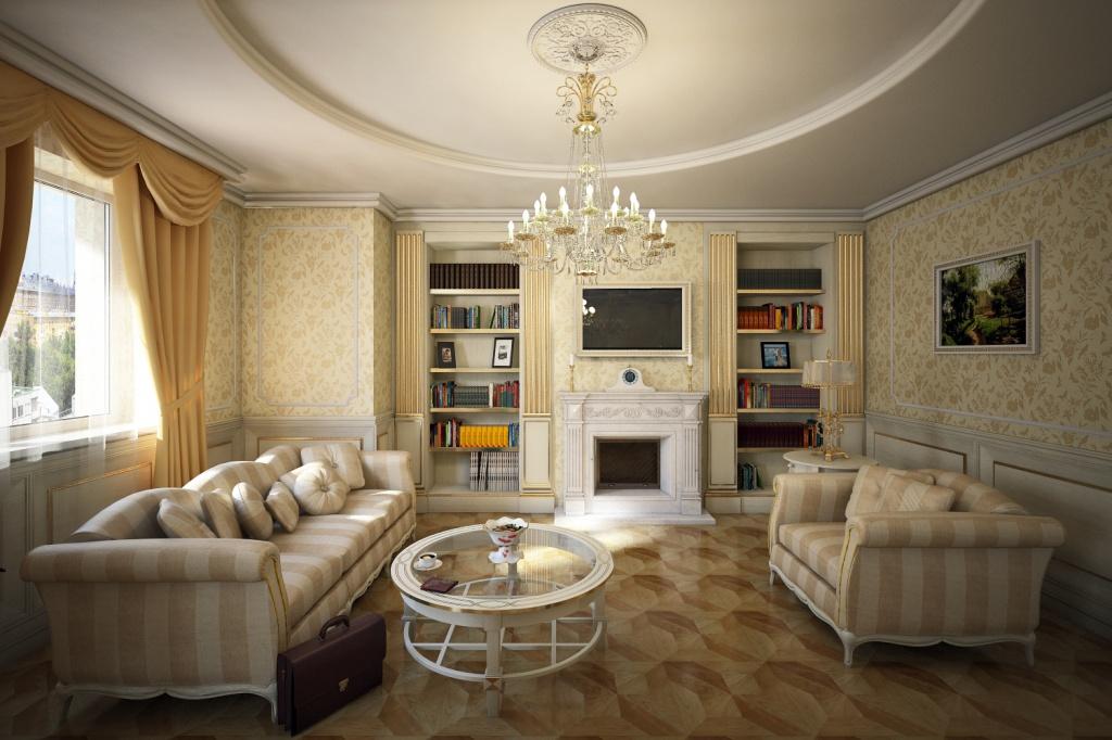 Гостиная в классическом стиле с камином и открытыми книжными шкафами