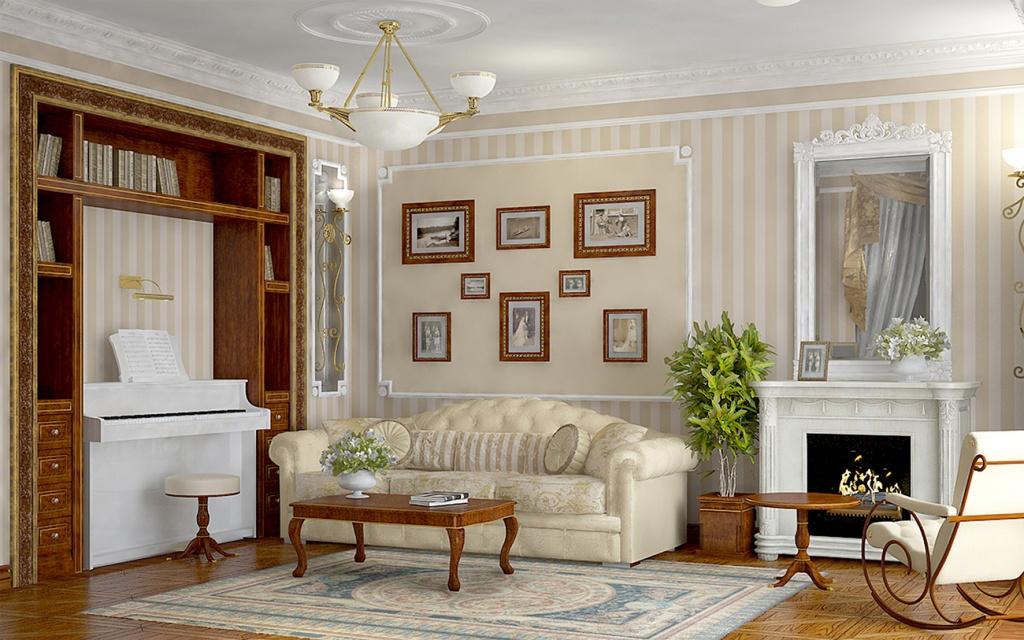 Небольшое белое пианино в интерьере современной гостиной