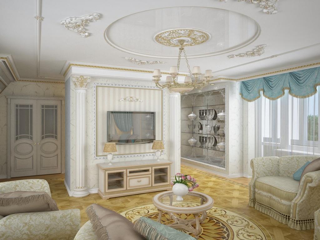 Лепнина на потолке гостиной, выполненной в классическом стиле
