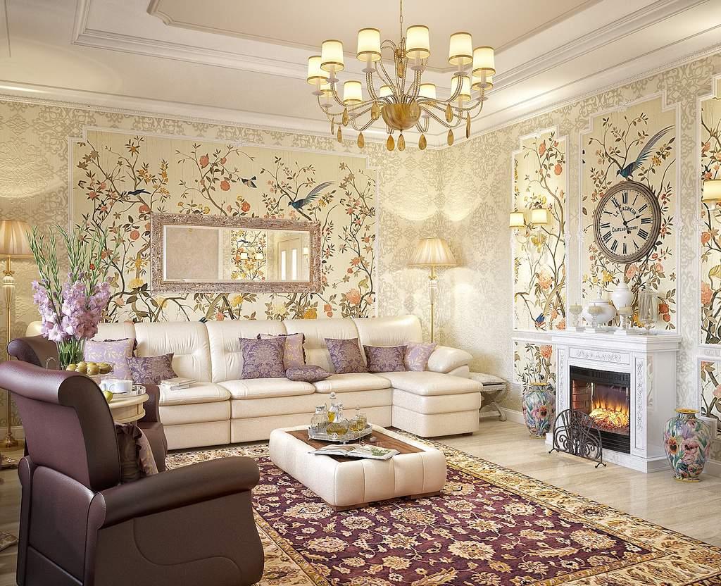 гостиная-спальня в кремово-лавандовых оттенках