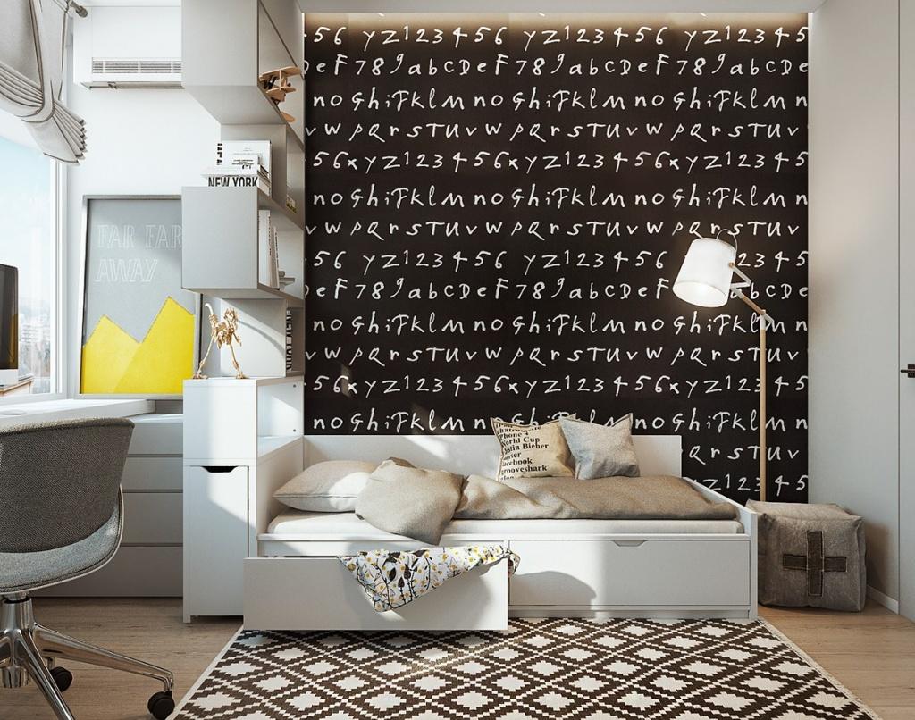Идея декора стены в комнате мальчика