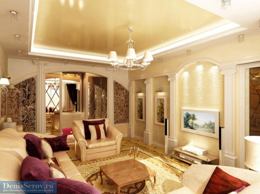 Вариант оформления современной классической гостиной с колонами и глянцевым потолком