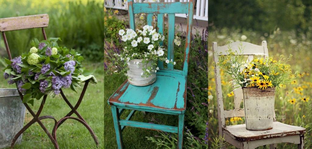 интересное использование старых стульев и цветов