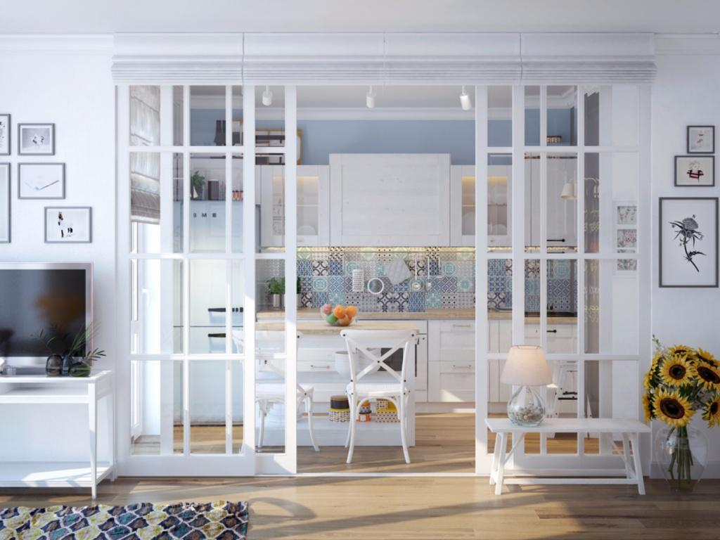 Кухня за раздвижными дверями