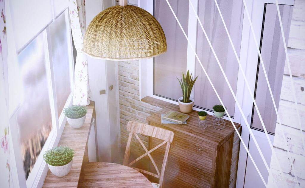 угловой балкон с деревянной мебелью прованс