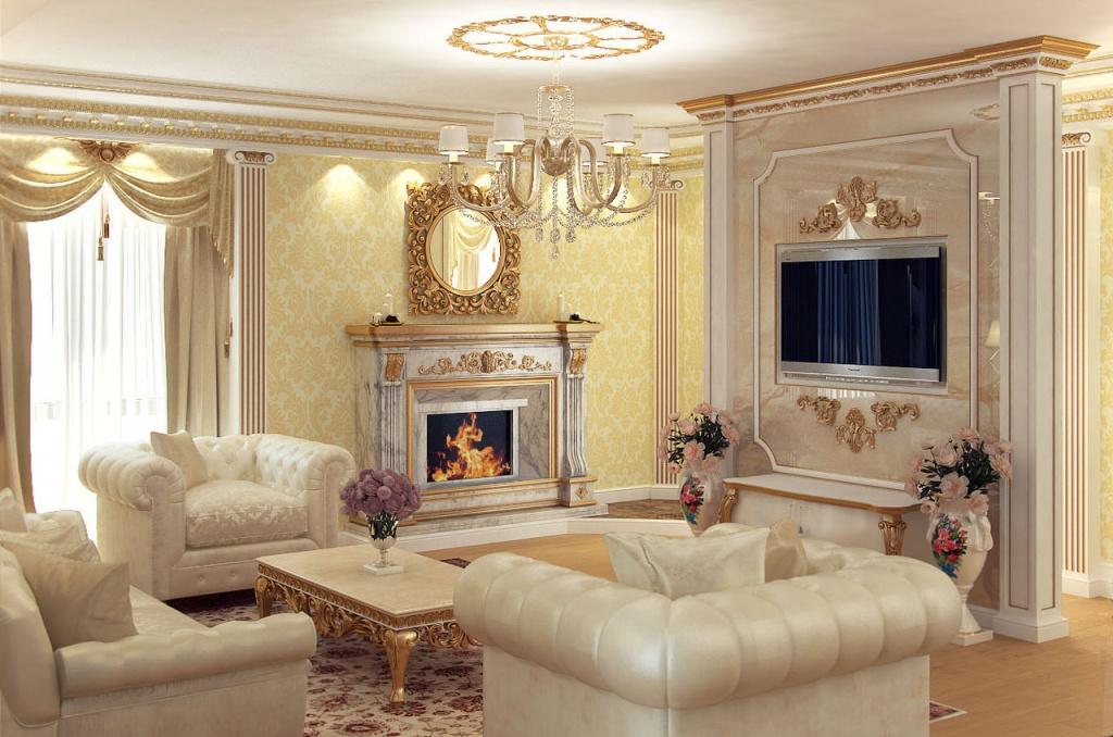 Интерьер современной гостиной в классическом стиле