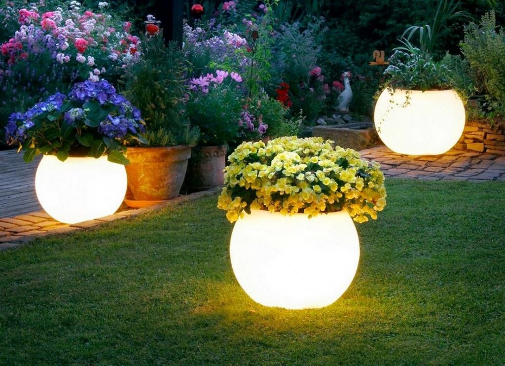 цветы, установленные в светодиодные горшки