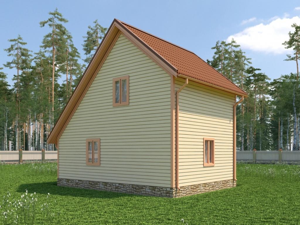 Садовый двухэтажный домик с несимметричной крышей