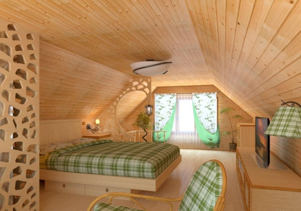 Оригинальный дизайн спальни с резными деревянными перегородками