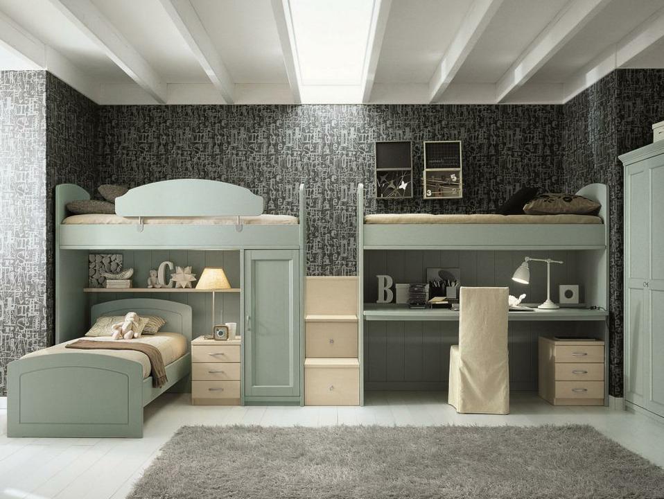 Классическая детская комната для 3 детей