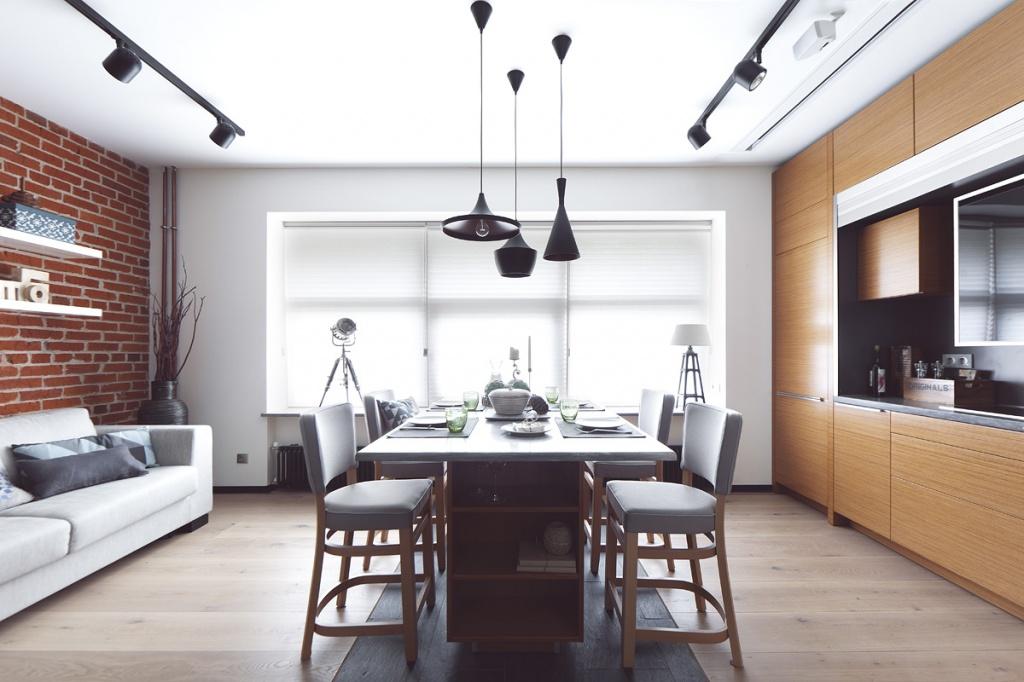 Кухня-гостиная с деталями лофта