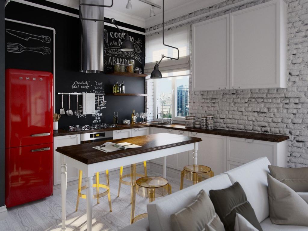 Кухня-столовая с яркими акцентами