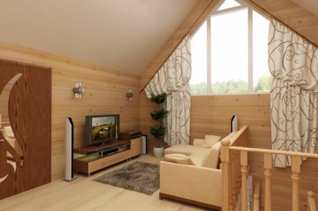 Маленькая гостиная, обустроенная на мансардном этаже