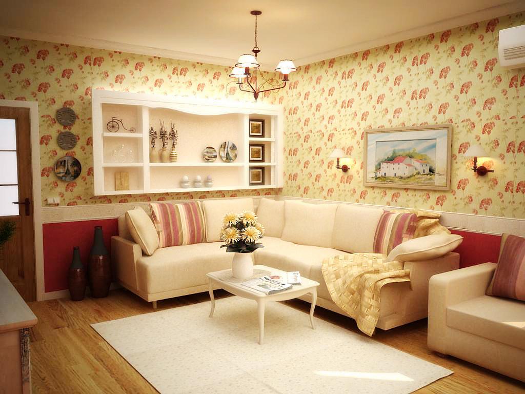 Оригинальная жёлтая гостиная с красными и коричневыми вставками
