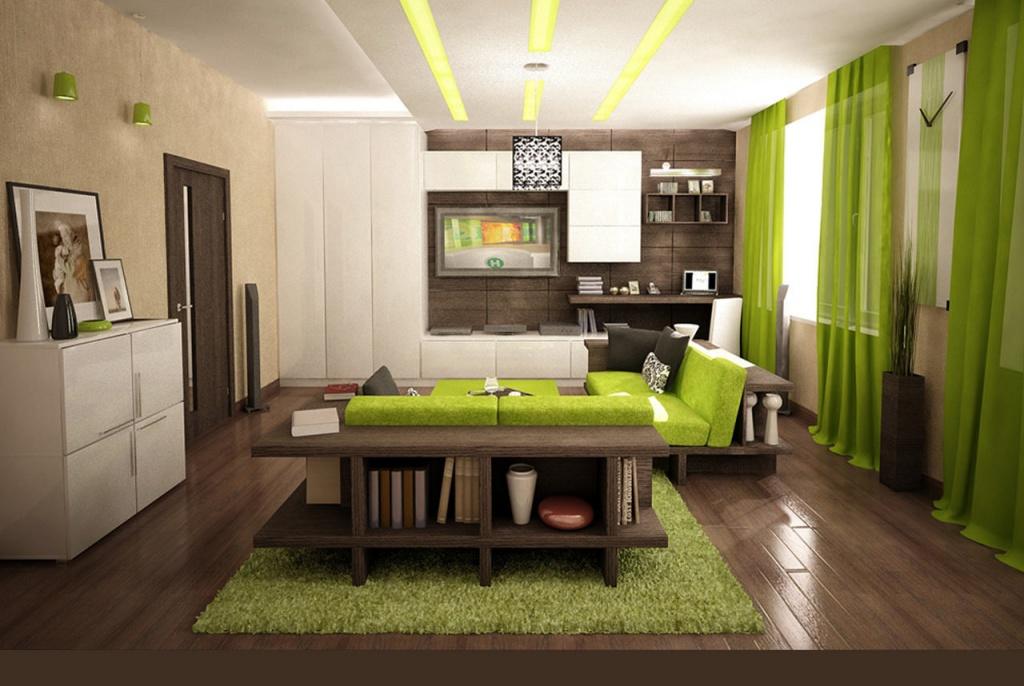 интерьер студии с использованием цвета Greenary