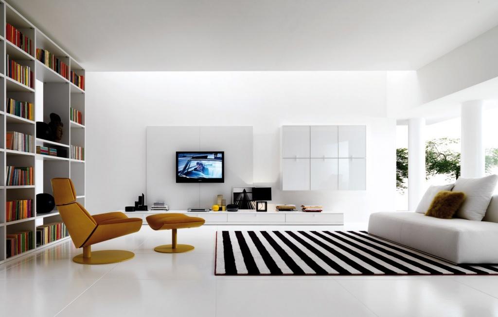 в интерьере – предметы только прямоугольной или квадратной формы