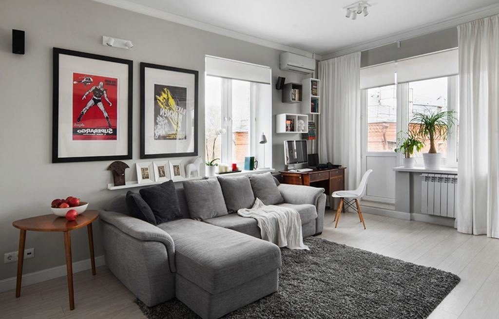 Вариант расстановки мебели в однокомнатной квартире