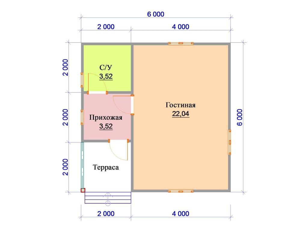 Вариант планировки одноэтажного дома