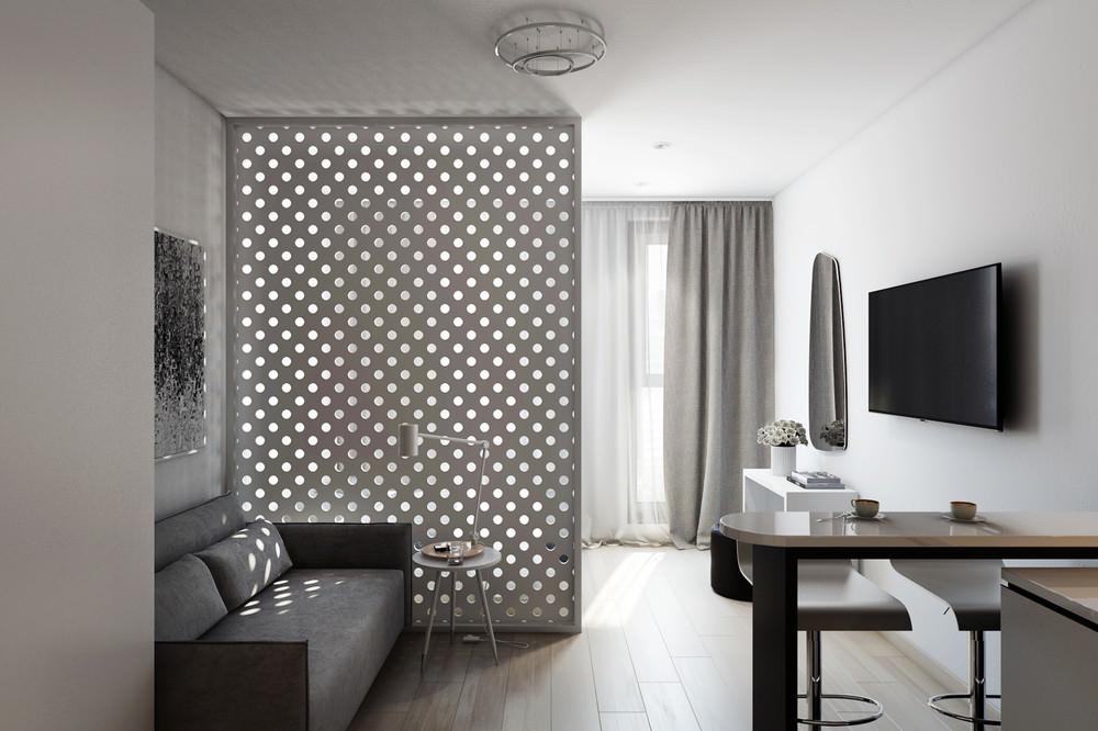 Минималистичная квартира студия в серых тонах