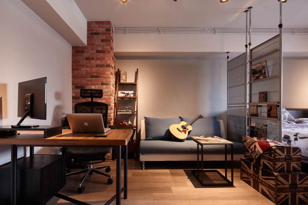 Дизайн квартиры в стиле лофт со стеклянной перегородкой