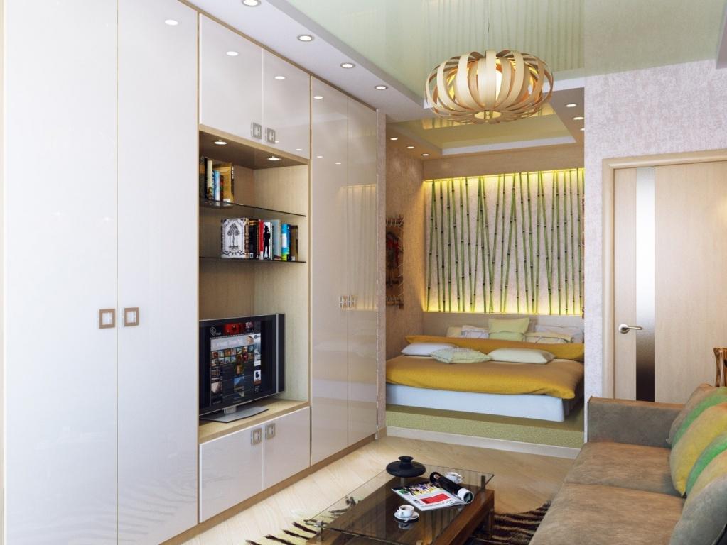 Шкаф от пола до потолка в интерьере однокомнатной квартиры