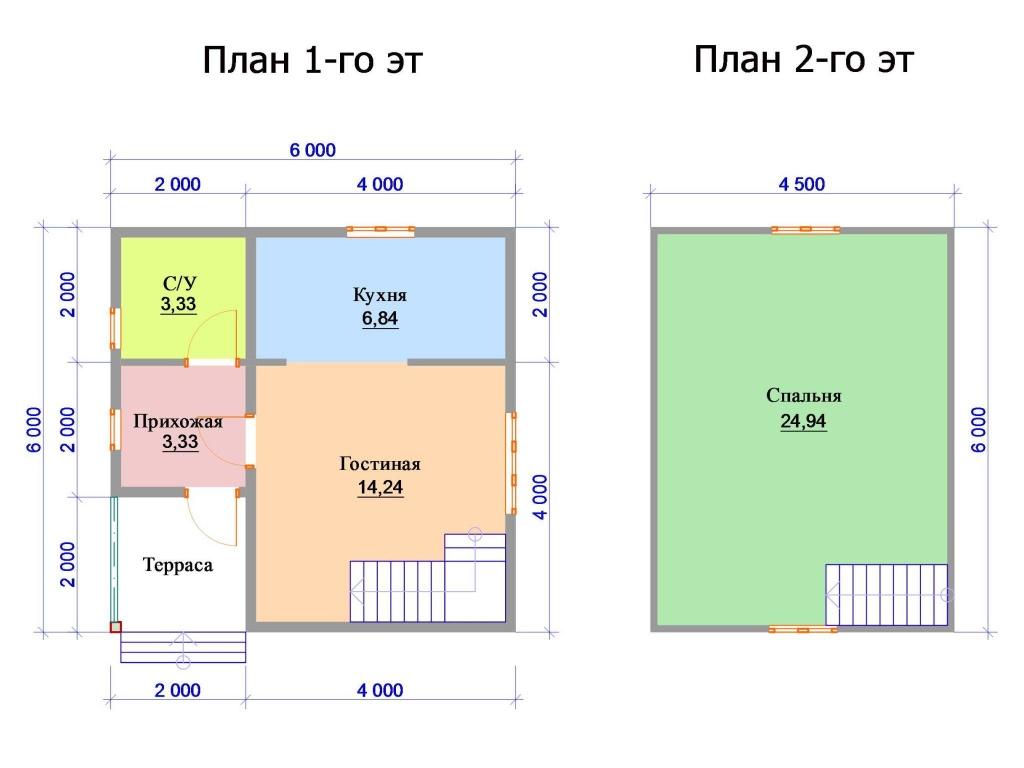 Пример планировки двухэтажного дома с одной спальней на мансардном этаже
