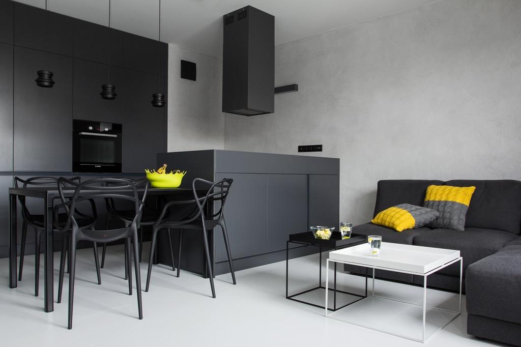 студия разделена на две зоны с помощью гарнитура и мебели