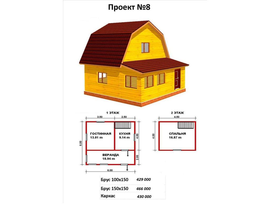Вариант планировки двухэтажного дома с верандой