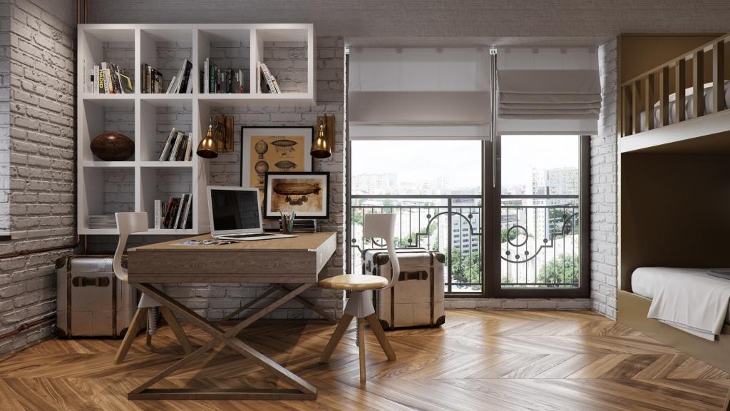 Дизайн подростковой комнаты для двух мальчиков в пастельных оттенках