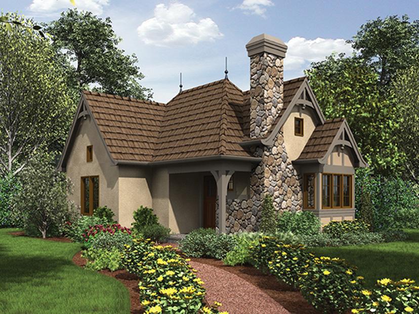 Небольшой симпатичный домик в староанглийском (тюдоровском) дизайне утопает в саду и цветах