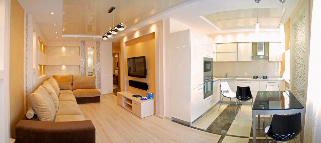 Интерьер однокомнатной угловой квартиры