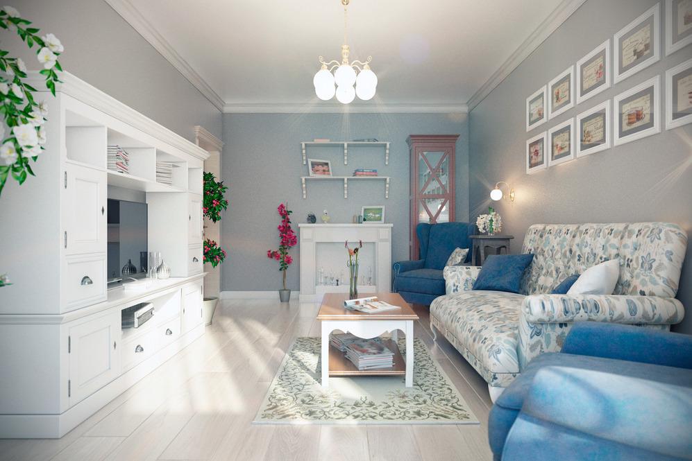 спокойная гостиная-спальня белых и голубых оттенков