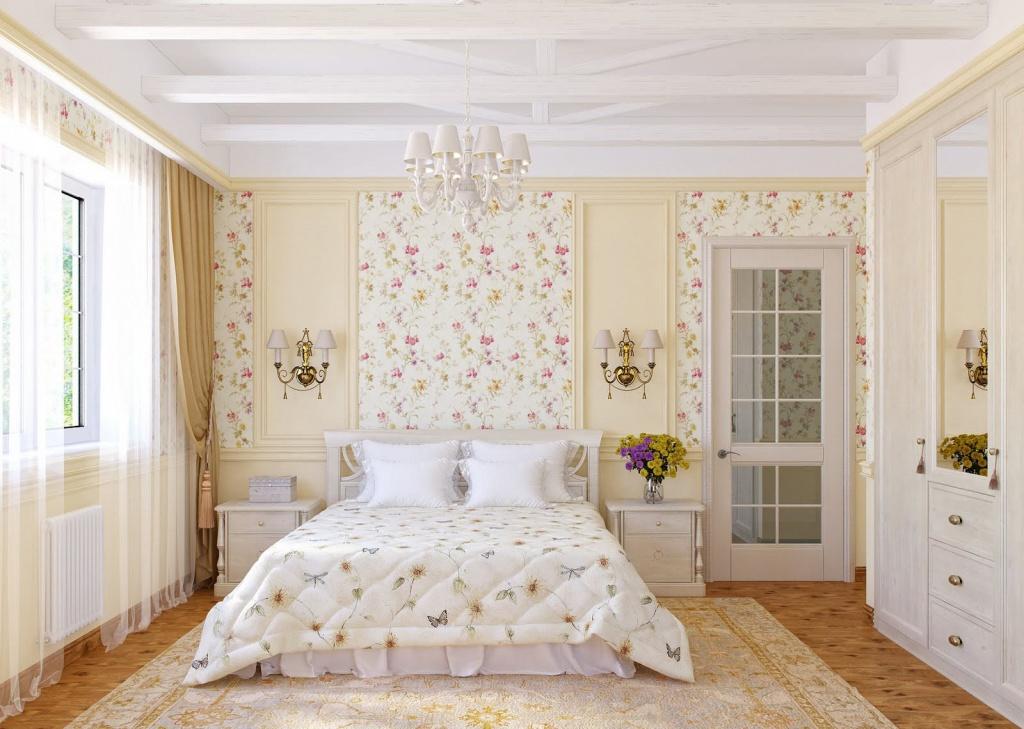 спальня в белых и пастельных тонах