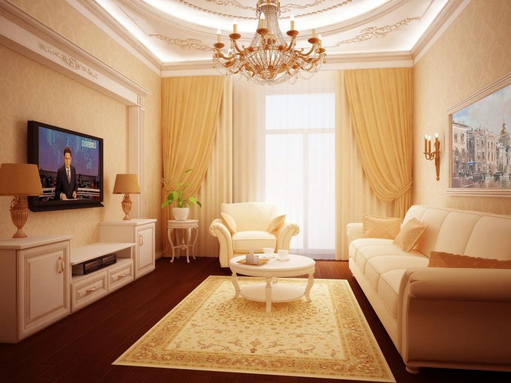 Светлая классическая гостиная с лепниной на потолке