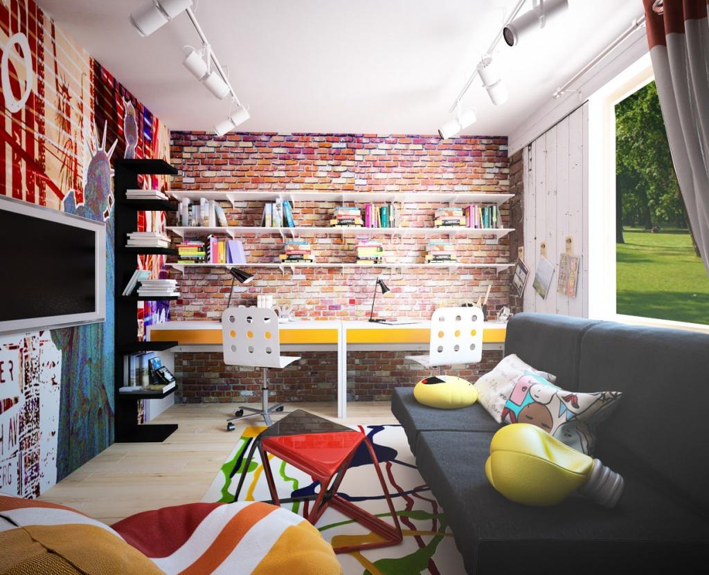 Сочетание элементов поп-арт и лофт в оформлении комнаты