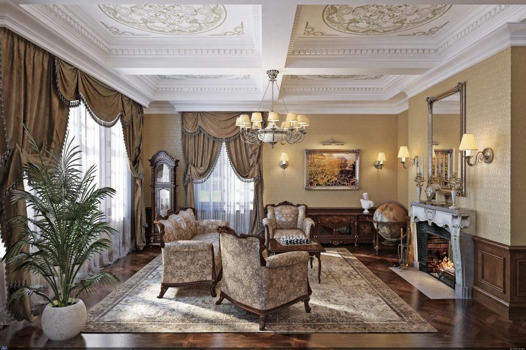 Изящная роспись на потолке классической гостиной