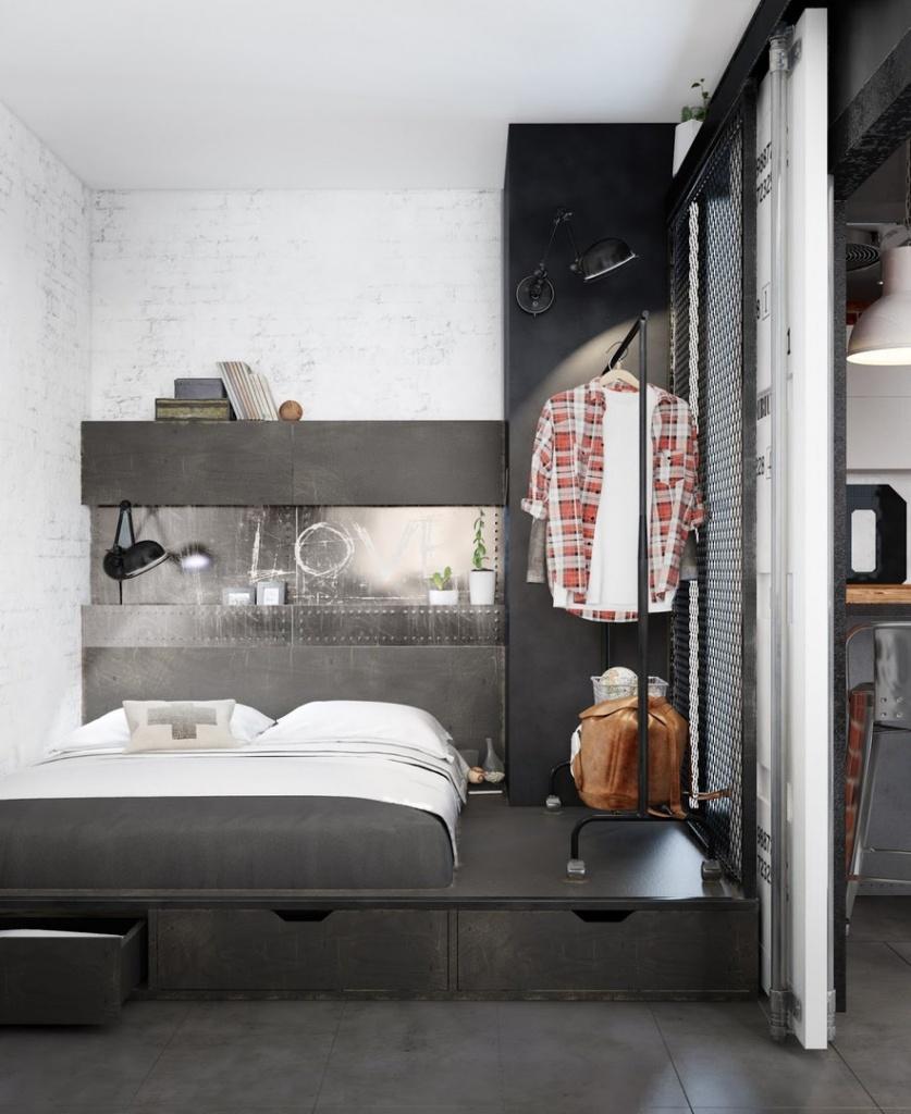 Кровать с подиумом для хранения