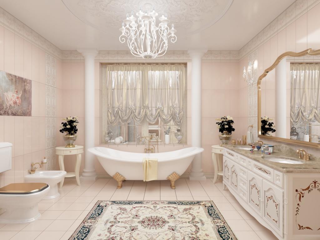 Просторная ванная комната в пастельных тонах