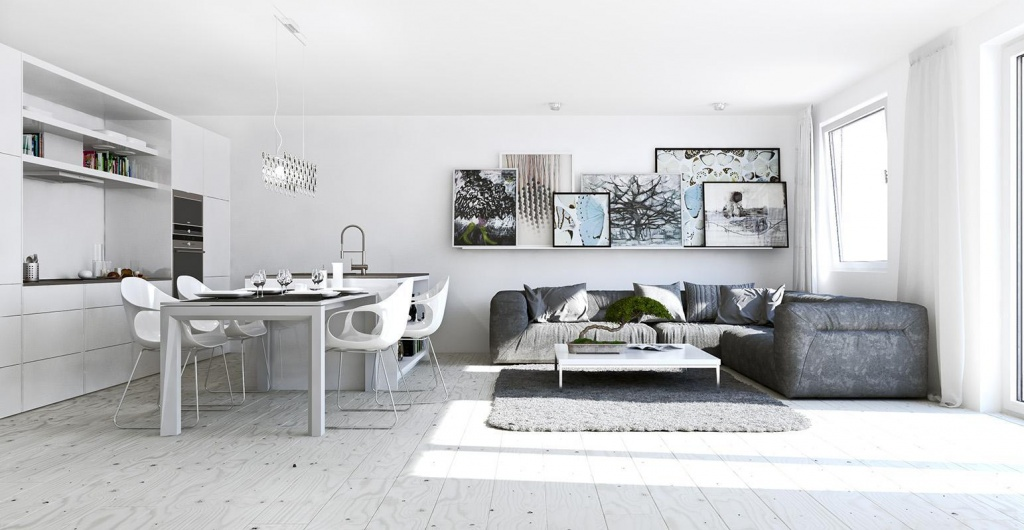 Интерьер однокомнатной квартиры в стиле минимализм