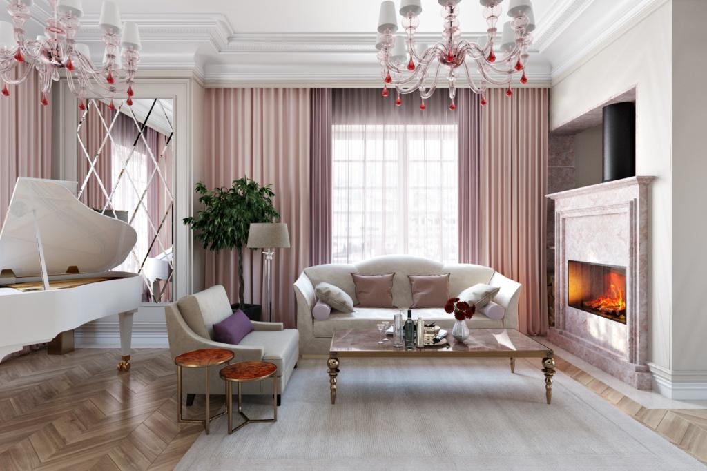Белый рояль в интерьере просторной гостиной