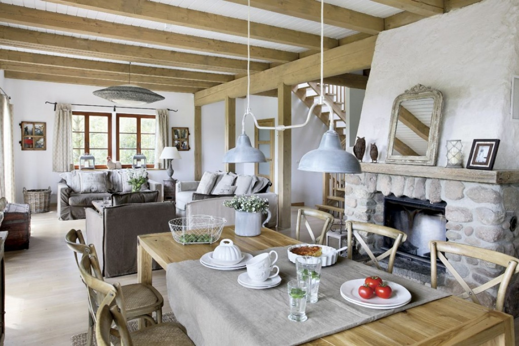 Кухня-гостиная с элементами прованса