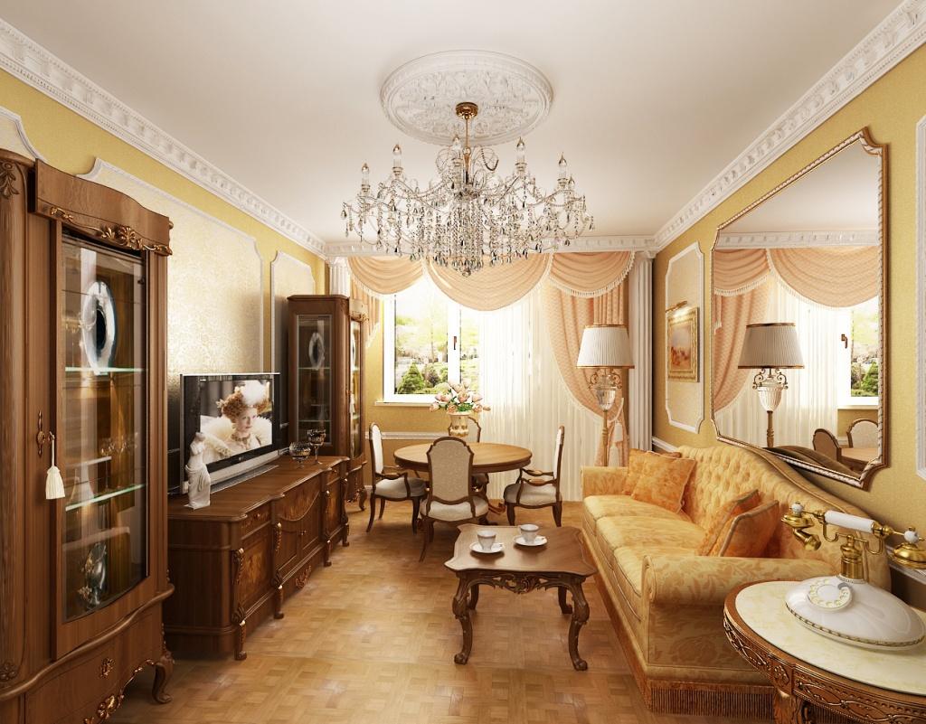 Классическая гостиная в бежевых тонах с большим зеркалом на стене