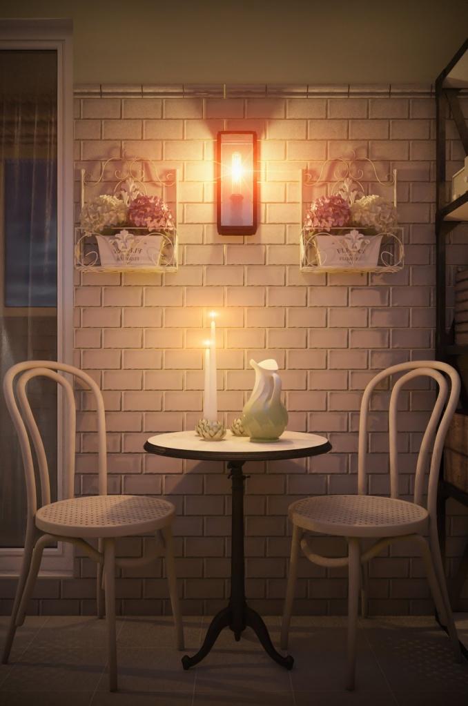 простой комплект мебели около стены с кирпичной кладкой
