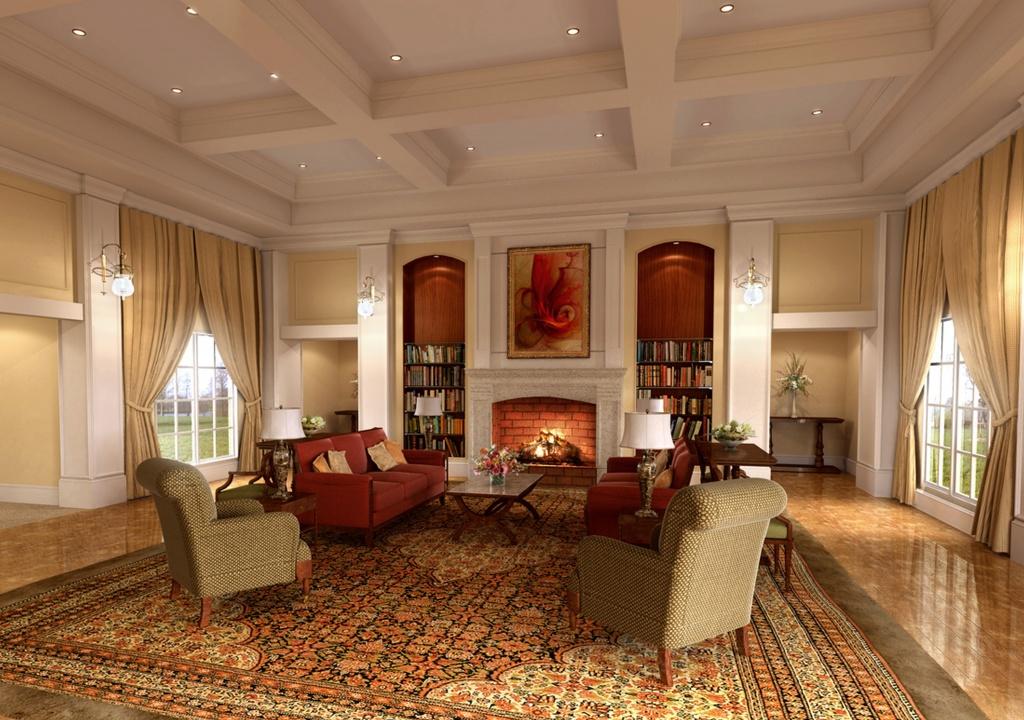 Пример дизайна просторной гостиной в классическом стиле