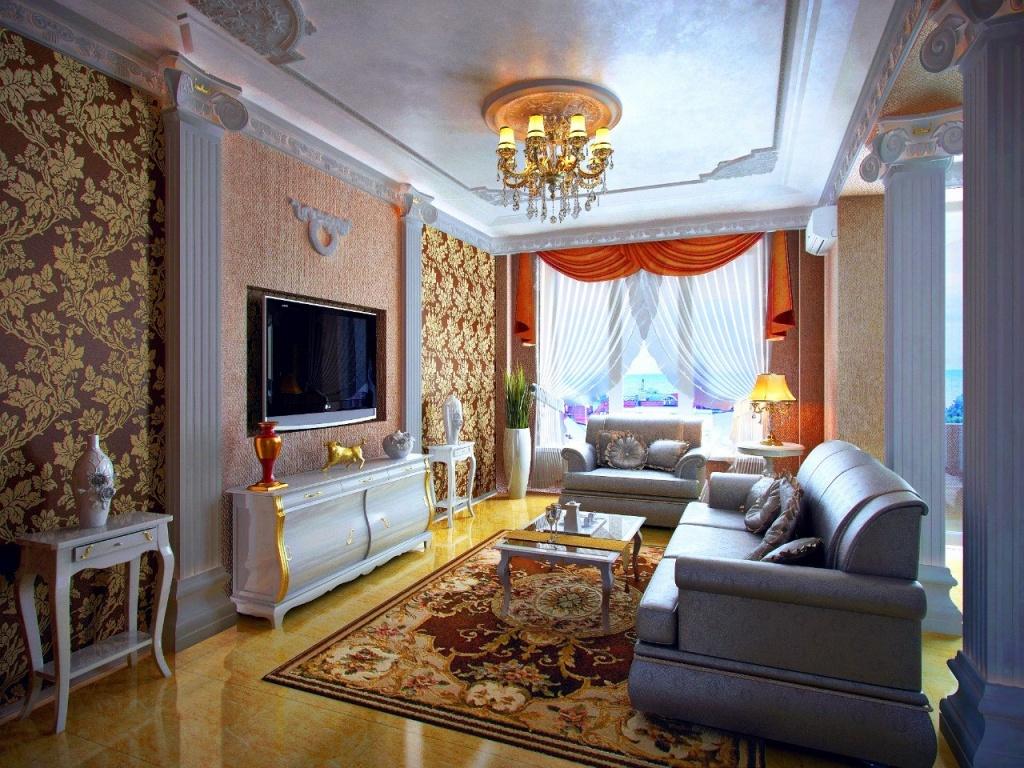 Классическая гостиная с колонами и комбинированным оформлением стен