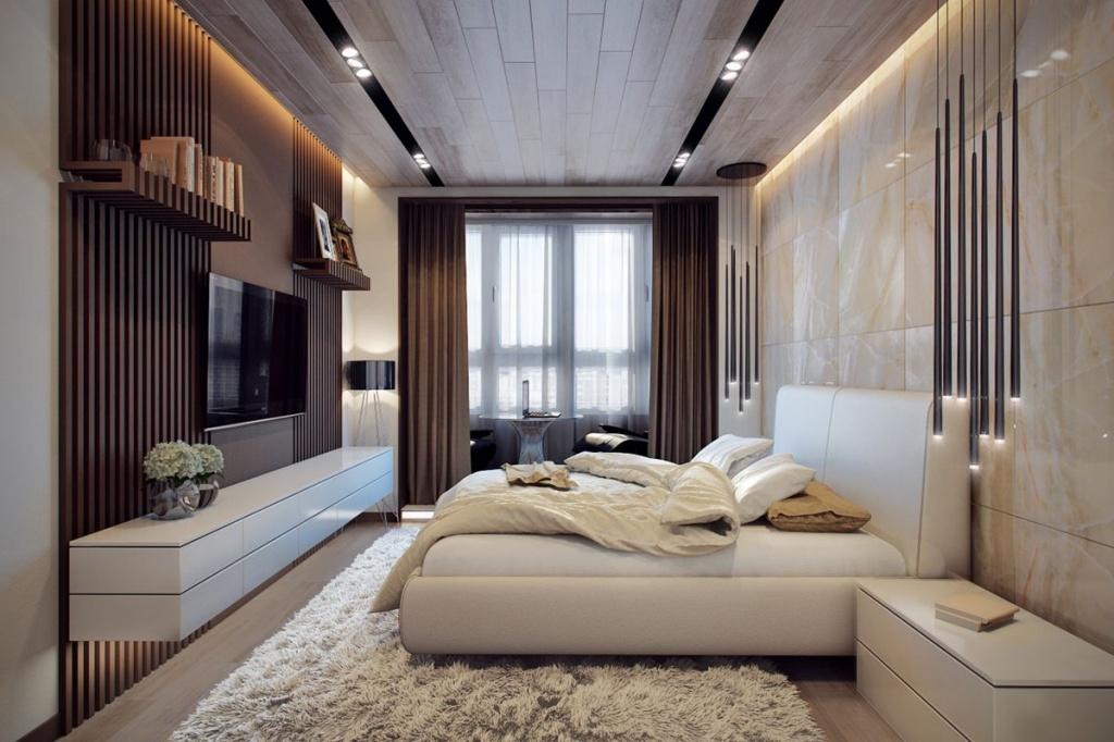 Коричневые и бежевые оттенки в интерьере однокомнатной квартиры
